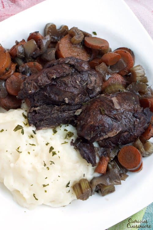 A plate of wine braised venison.