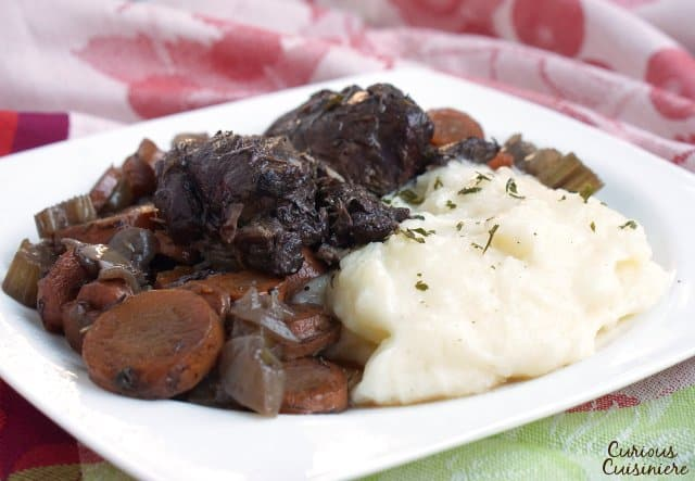 Easy slow cooked venison roast with mashed potatoes.