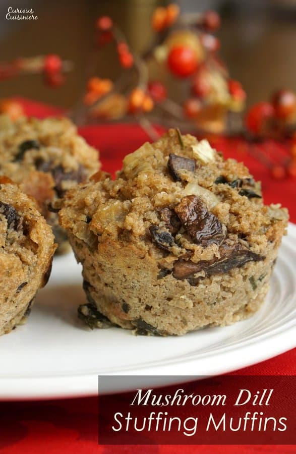 Everyone know the crispy part is the best part of the stuffing. With our Dill and Mushroom Stuffing Muffins (or 'stuffins') everyone gets their share of the crispy mushroom stuffing goodness. | www.CuriousCuisiniere.com