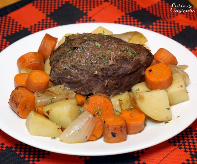 Braising is the perfect technique for cooking a venison roast and this Beer Braised Venison Roast recipe brings a German flair and intense flavor that are destine to be a family favorite. | www.curiouscuisiniere.com
