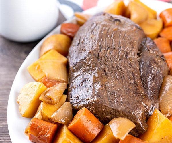 Beer braised venison roast with carrots and potatoes