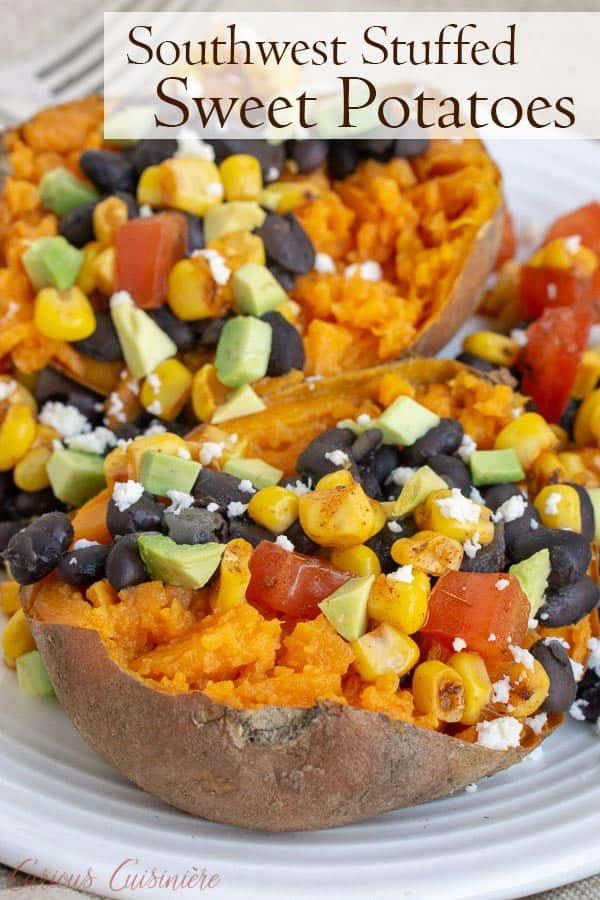 Our Southwest Stuffed Sweet Potatoes are filled with a homemade corn salsa, queso fresco, avocado, and black beans for a nutrient rich twist on a loaded baked potato. #sweetpotatoes #falldinner | www.CuriousCuisiniere.com