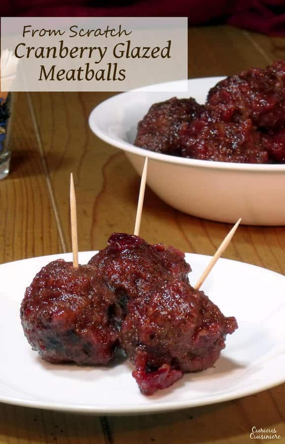 A sweet and tangy homemade cranberry sauce with a bit of a kick makes the perfect glaze for these Venison Meatballs. (You can use it with regular meatballs too!) | www.CuriousCuisiniere.com