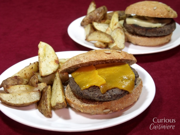 Chipotle Black Bean Burgers with Baked Garlic Home Fries via Curious Cuisiniere