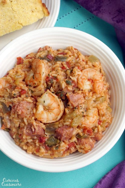Shrimp and Ham Creole Jambalaya is a hearty and flavorful dish that is perfect for Mardi Gras or any time you want a taste of New Orleans! | www.CuriousCuisiniere.com