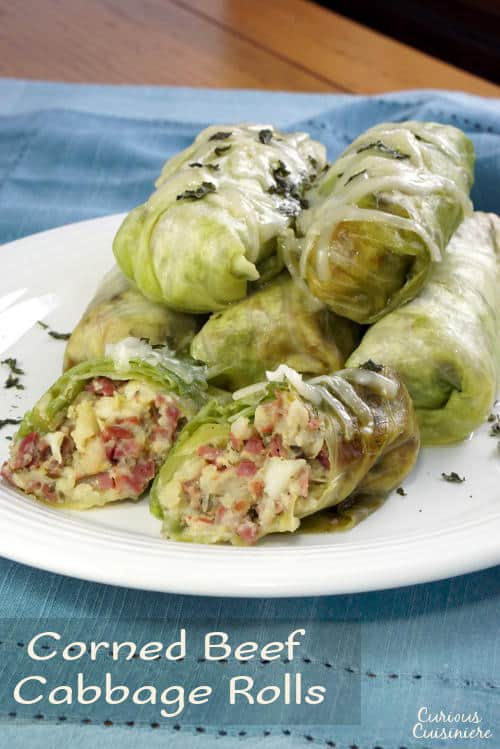 These Corned Beef Cabbage Rolls bring all the fixings of a Corned Beef Dinner into cute little bundles. They're a great way to use up St. Patrick's Day leftovers! | www.CuriousCuisiniere.com