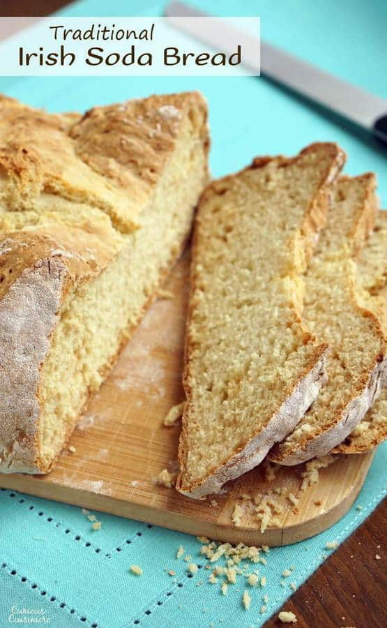 This traditional Irish Soda Bread recipe produces an easy and hearty loaf with a texture between a yeast bread and a biscuit. It is perfect for breakfast or for serving along side of a thick and hearty Irish stew. | www.CuriousCuisiniere.com