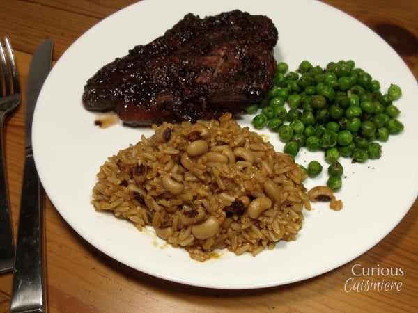 Southwest Brown Rice Pilaf with Black Eyed Peas from Curious Cuisiniere