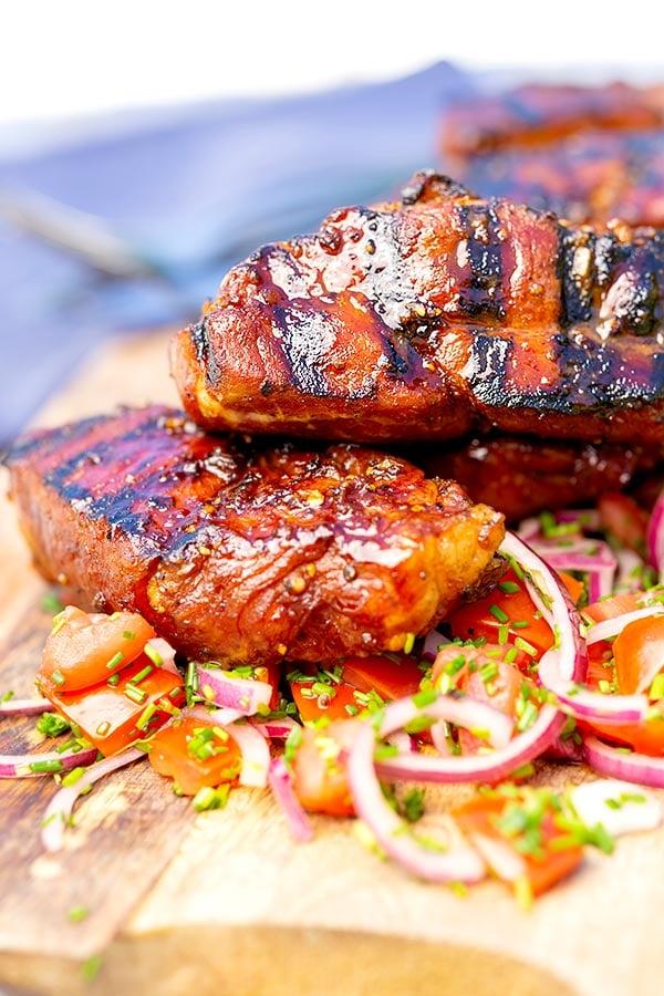 Country style rib marinade on pork ribs, stacked