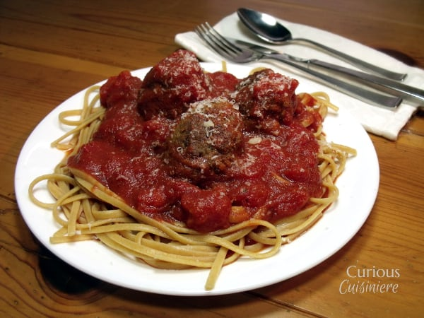 Spaghetti with Homemade Meatballs from Curious Cuisiniere