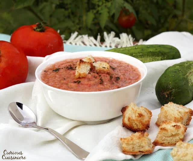There is more than meets the eye to this chilled, Spanish soup. Gazpacho is a refreshing and flavorful chance to serve up summer in a bowl!   www.CuriousCuisiniere.com