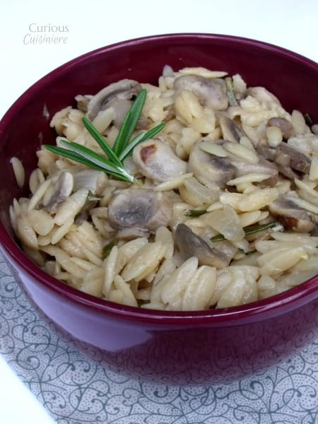 Lemon Rosemary Orzo with Mushrooms from Curious Cuisiniere
