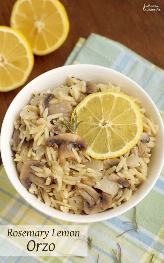 Rosemary Lemon Orzo brings a light and bright burst of spring to your dinner table. | www.CuriousCuisiniere.com