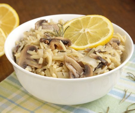 Rosemary Lemon Orzo with Mushrooms