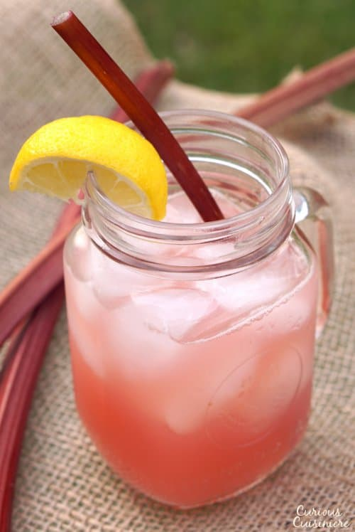 This Rhubarb Lemonade brings a unique sweet and tart twist to the refreshing summer classic drink. | www.CuriousCuisiniere.com