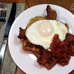 Cornmeal Waffles with Fried Eggs and Bacon