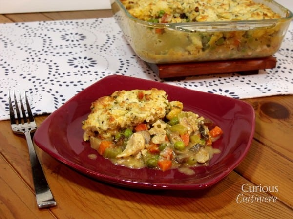 Bacon-Cheddar Biscuit Topped Turkey Pot Pie from Curious Cuisiniere