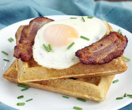 Savory Cornmeal Waffles with Eggs and Bacon