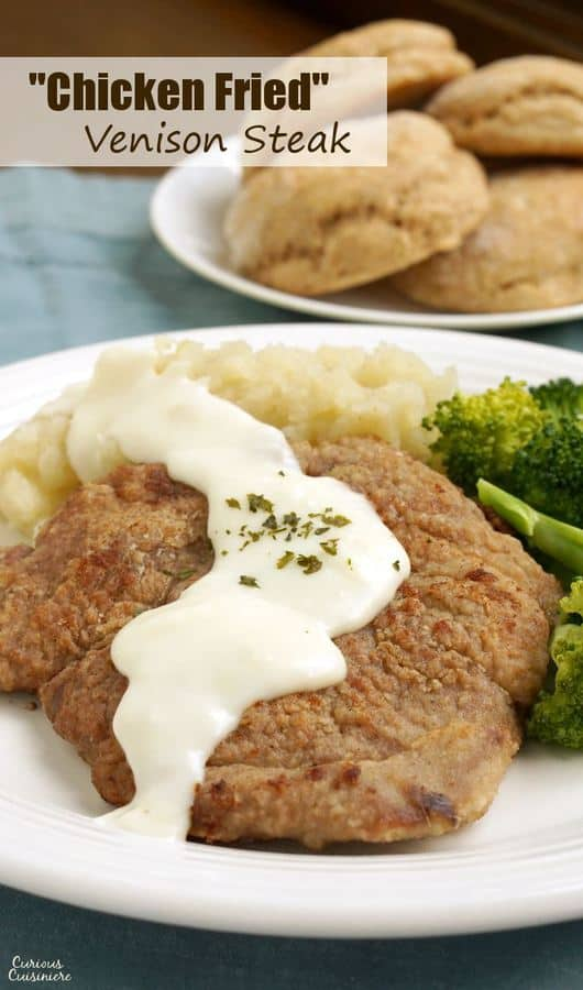 Chicken Fried Venison Steak with steamed broccoli and mashed potatoes.