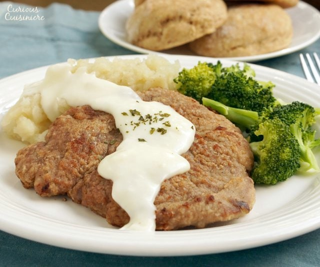 Country Fried Venison Steak with white pepper gravy.
