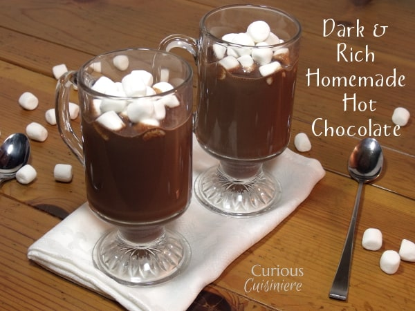 This rich dark hot chocolate recipe isn't for the faint of heart. If you like rich, creamy, dark chocolate, this homemade hot chocolate is for you. | Curious Cuisiniere