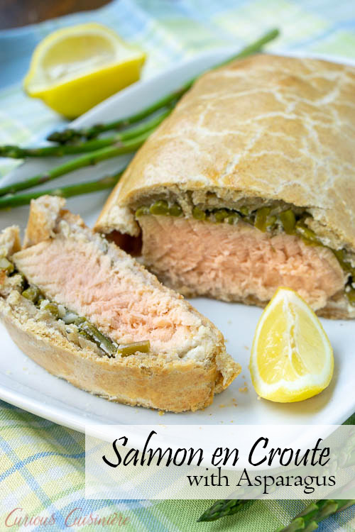 Our Salmon en Croute recipe brings salmon together with flaky pastry and asparagus. Lemon and rosemary give an extra burst of spring flavor to this dish! | www.CuriousCuisiniere.com