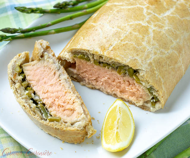 Overhead shot of a slice of salmon in puff pastry.