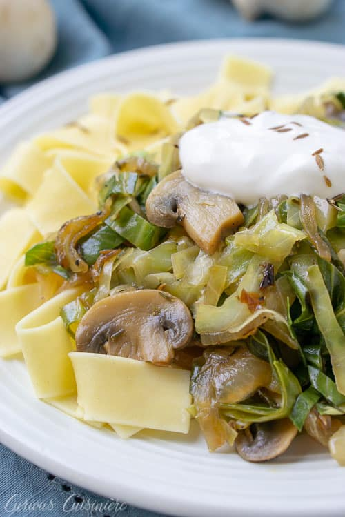Anunexpected combination of flavors comes together to create Lazanki. With cabbage, noodles, sour cream and mushrooms, this dish could be called the Polish versionof stroganoff.| www.CuriousCuisiniere.com