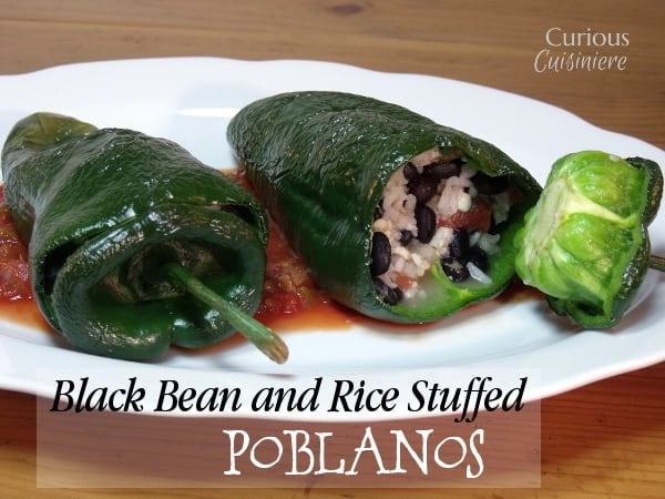 Beans, rice, and creamy cheese are the perfect filling for these Vegetarian Stuffed Poblano Peppers. |  Curious Cuisiniere