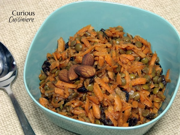 Healthy Carrot Raisin Salad with Lentils from Curious Cuisiniere