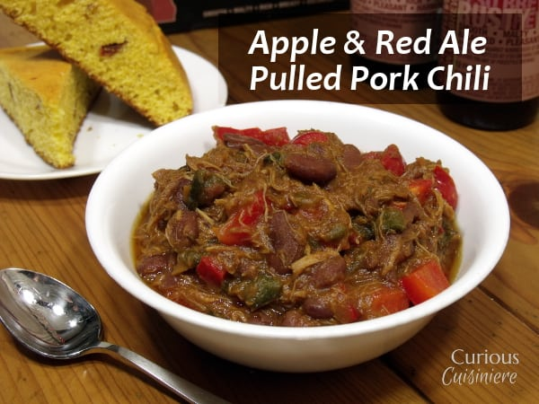 This Pulled Pork Chili uses fresh ingredients to give it a sweet and spicy flavor. You'd never guess it was an apple chili! | Curious Cuisiniere