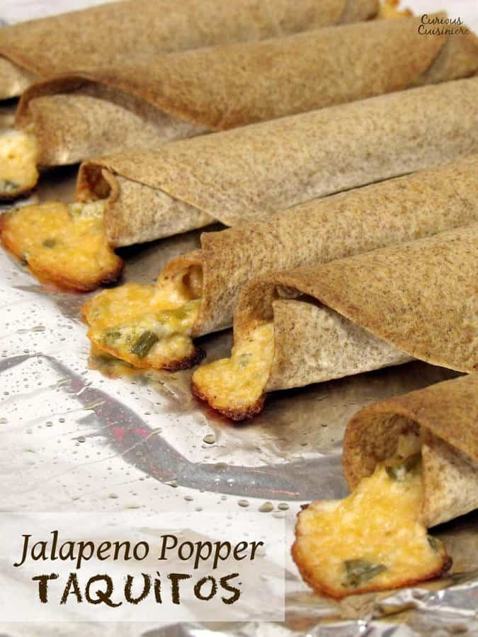 The cheesy, spicy goodness of jalapeno poppers gets a big crunch when rolled into crispy homemade taquitos.  | www.CuriousCuisiniere.com