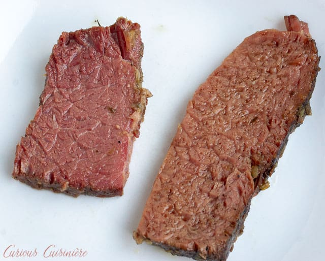 Choosing a quality brand for your corned beef brisket is important. Here you can see the difference in two cuts of corned beef flat that were cooked in the same manner.