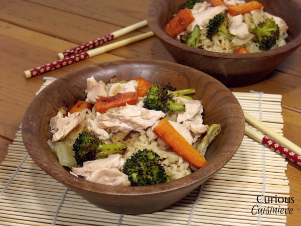 Asian Noodle Bowls with Tea-Poached Salmon from Curious Cuisiniere