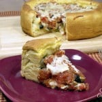 Vegetarian Deep Dish Pizza Pie for #PieDay