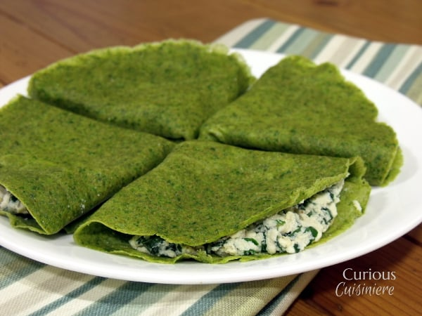 Shamrock Spinach Crepes from Curious Cuisiniere