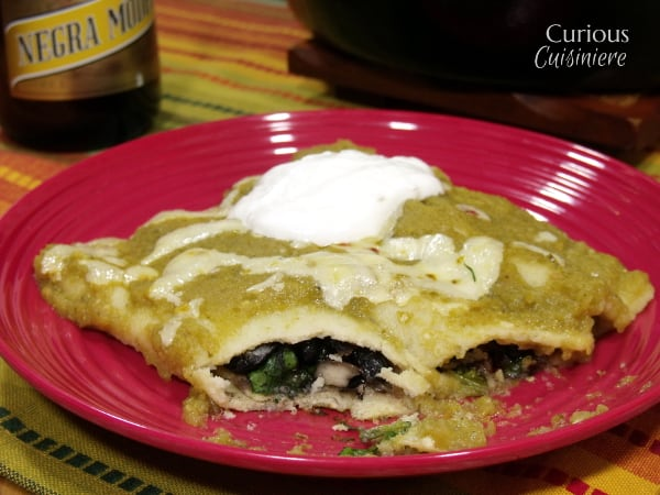 Green Chili and Spinach Skillet Enchiladas from Curious Cuisiniere