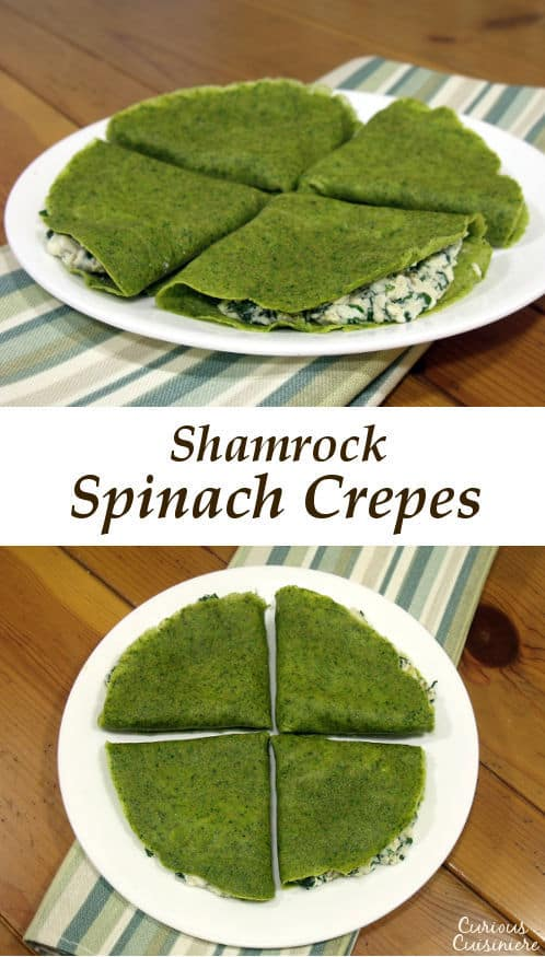 Celebrate St. Patrick's Day with these fun, naturally dyed Spinach Crepes. They're great for breakfast or dinner! | www.CuriousCuisiniere.com