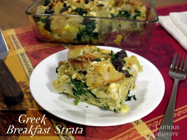 Greek Breakfast Strata from Curious Cuisiniere