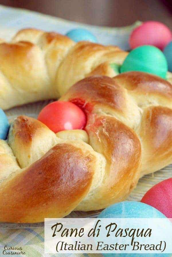 This light and eggy Italian Easter Bread, Pane di Pasqua, is slightly sweet and bursting the with flavors of citrus and anise.  | www.CuriousCuisiniere.com