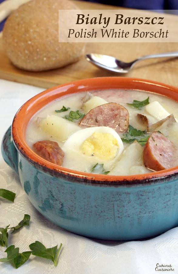 White Borscht is a tasty Polish Easter soup that is full of ingredients carrying religious symbolism.   www.CuriousCuisiniere.com