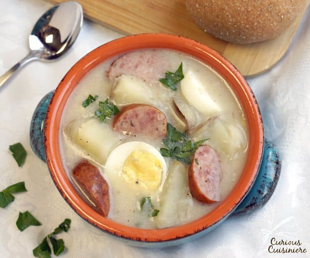 White Borscht is a tasty Polish Easter soup that is full of ingredients carrying religious symbolism. | www.CuriousCuisiniere.com