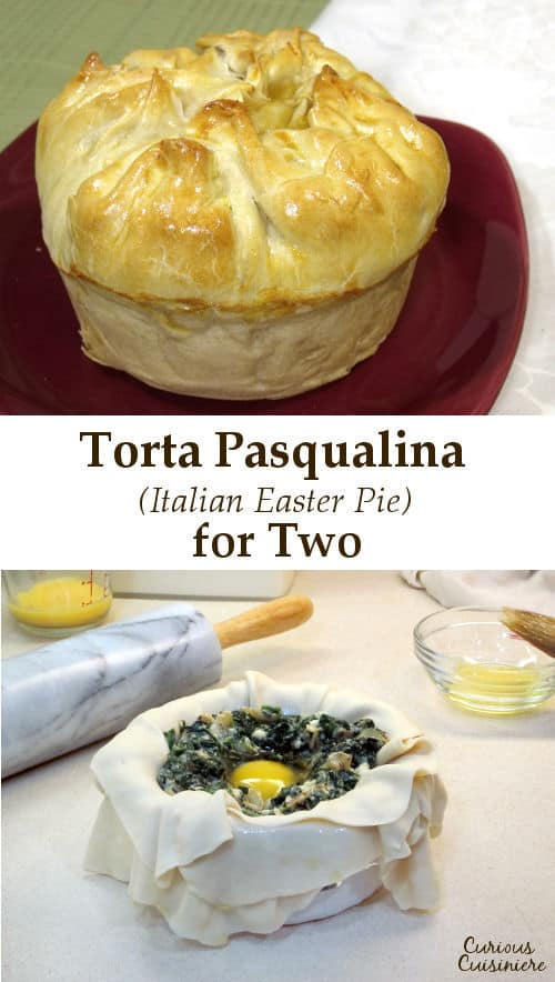 Torta Pasqualina is a traditional Italian Easter Pie with layers of flaky pastry, filled with a mixture of greens, and studded with hard cooked eggs.  | www.CuriousCuisiniere.com