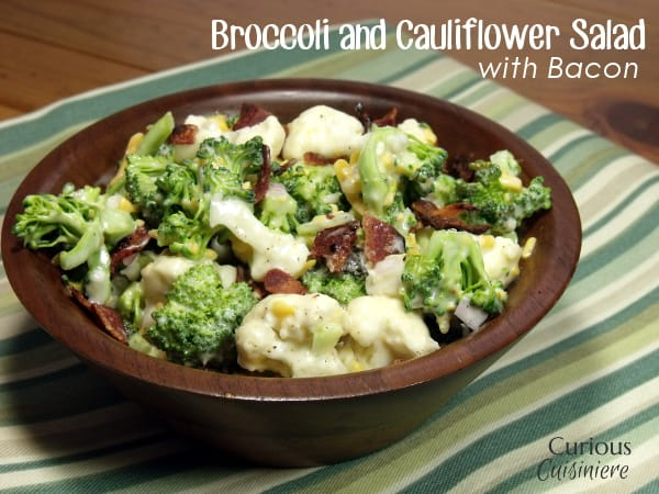 Skinny Broccoli and Cauliflower Salad with Bacon from Curious Cuisiniere