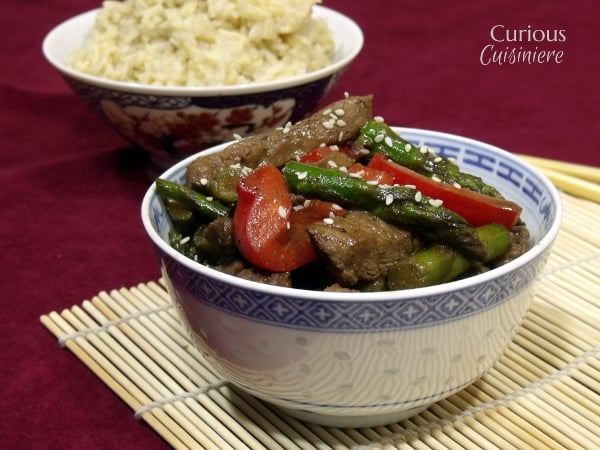 Beef and Asparagus Stir Fry with Homemade Hoisin Sauce from Curious Cuisiniere
