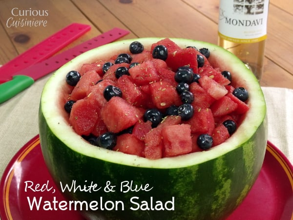 "Blueberries, watermelon, & white wine make this Red White and Blue Fruit Salad perfect for any summer picnic. Just keep it on the ""adults only"" table! 