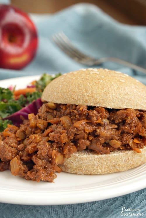 Lentils and carrots bring a sneaky twist to the classic American comfort food. These Healthy Sloppy Joes are so flavorful, you won't even notice the extra veggies! | www.CuriousCuisiniere.com