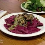 Beet Ravioli with Sauteed Mushrooms
