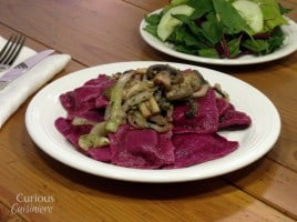 Beet Ravioli with Sautéed Mushrooms from Curious Cuisiniere #pasta #Italiancooking
