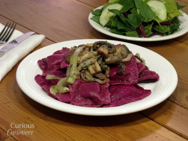 Beet Ravioli with Sautéed Mushrooms from Curious Cuisiniere #pasta #Italiancooking